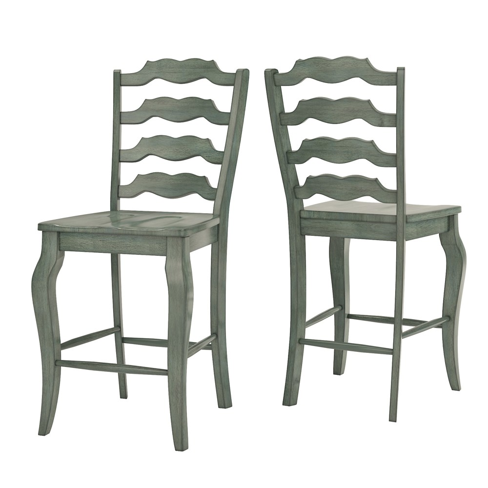 South Hill French Ladder Back 24 in. Counter Chair (Set of 2) - Antique Aqua (Blue) Green - Inspire Q