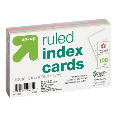 """100ct 3"""" x 5"""" Ruled Index Cards Multicolor - Up&Up™"""