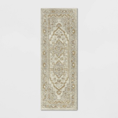 "2'4""X7' Runner Wool Tufted Geometric Persian Rug Cream - Threshold™"