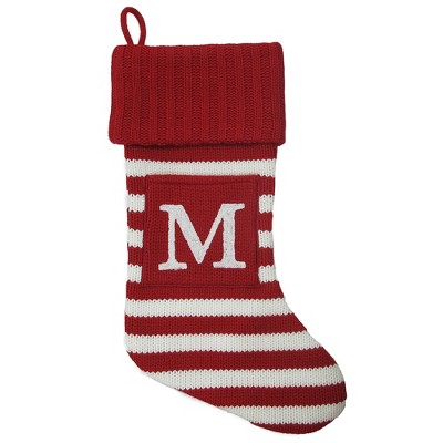 Knit Striped Monogram Christmas Stocking M - Wondershop™