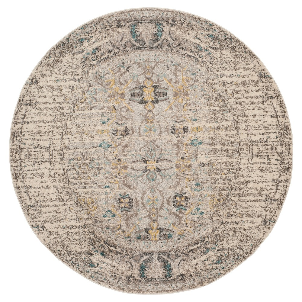 Gray Solid Loomed Round Area Rug - (6'7 Round) - Safavieh, Gray/Multi