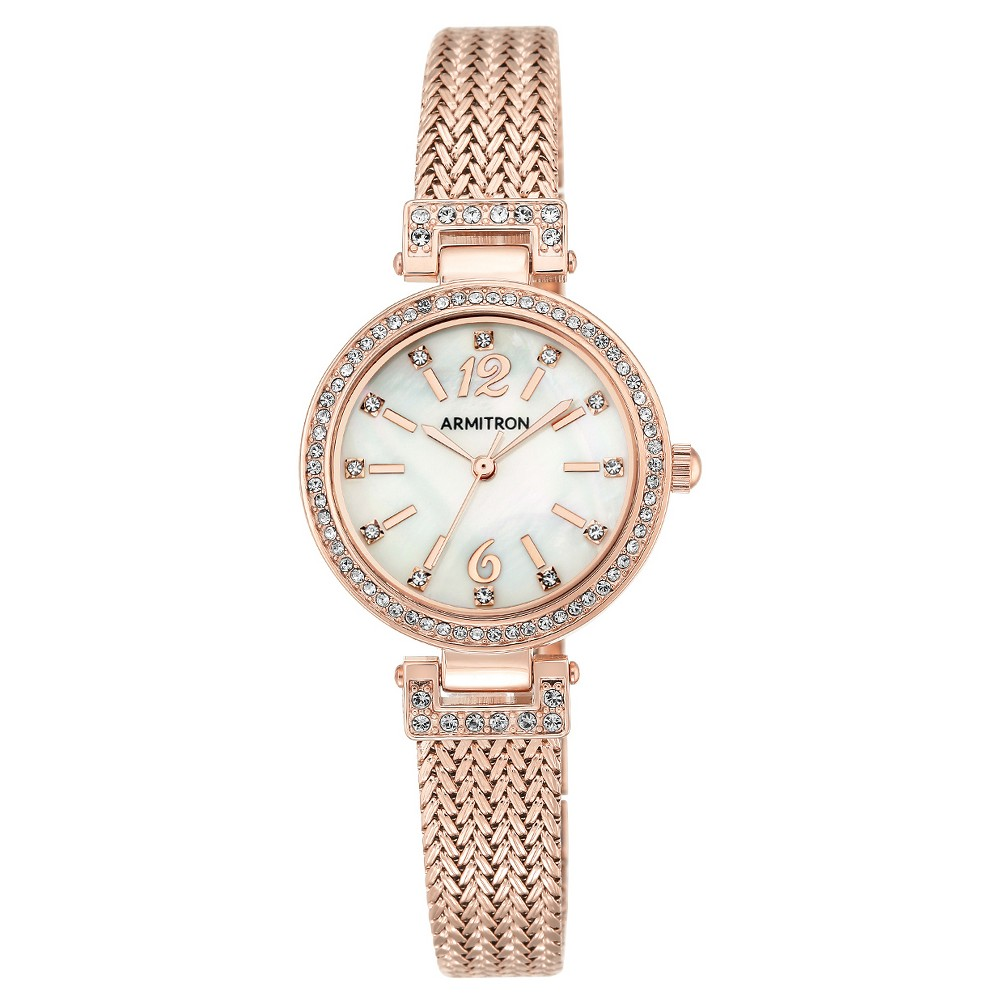 Women's Armitron Swarovski Crystal Accented Mesh Bracelet Watch - Rose gold