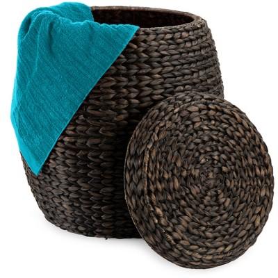 Best Choice Products Vintage Multipurpose Hyacinth Storage Organizer Tote Basket w/ Lid