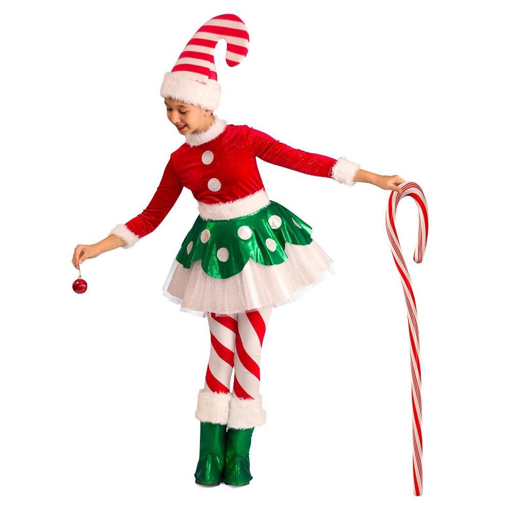 Girls' Candy Cane Elf Princess Halloween Costume M, Multicolored