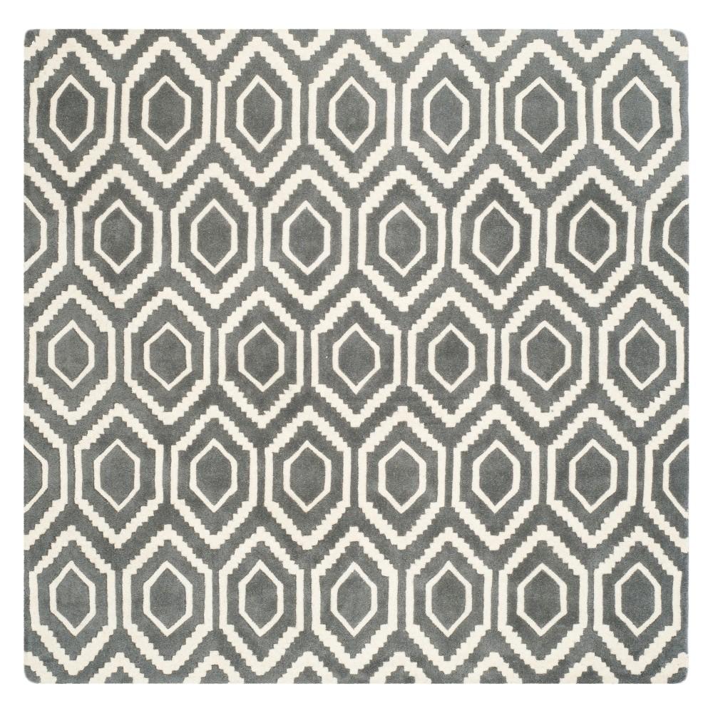 7'X7' Geometric Tufted Square Area Rug Dark Gray/Ivory - Safavieh