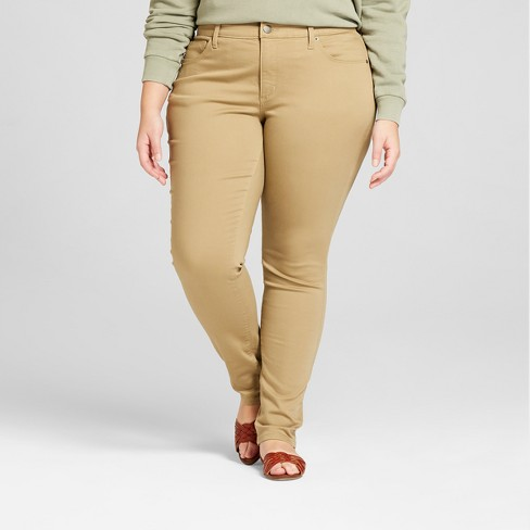 c08ceec71d2 Women s Plus Size Curvy Skinny Jeans - Universal Thread™ Tan   Target