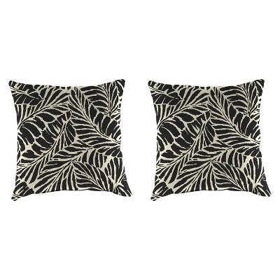 Outdoor Set Of 2 Accessory Toss Pillows In Malkus Black - Jordan Manufacturing