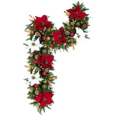 Easy Treezy Indoor Artificial 6 Foot Pre Lit Decorated Holiday Christmas Garland with White Lights, Poinsettias, Christmas Ornaments, and Pine Cones
