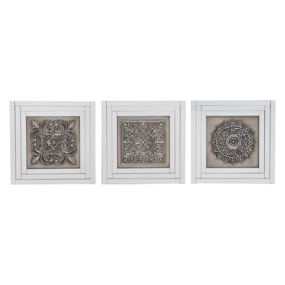 Image of Wood and Mirror Decorative Wall Art 16 X16 (Set of 3) - Olivia&May, Silver