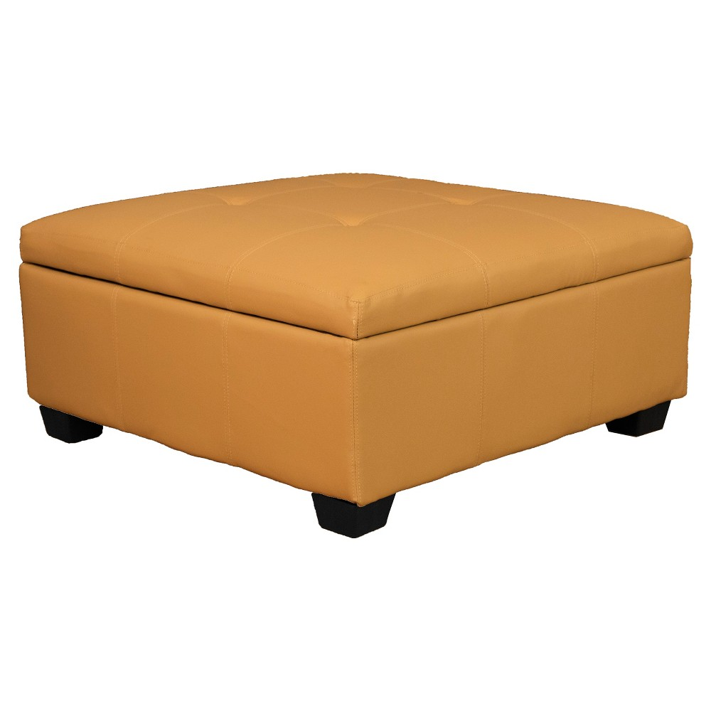 Heirloom Tufted Padded Hinged Ottoman - Leather Look - Epic Furnishings, Buckskin