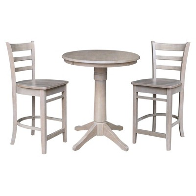 """30"""" Effie Round Pedestal Counter Height Dining Set with 2 Emily Stools - International Concepts"""