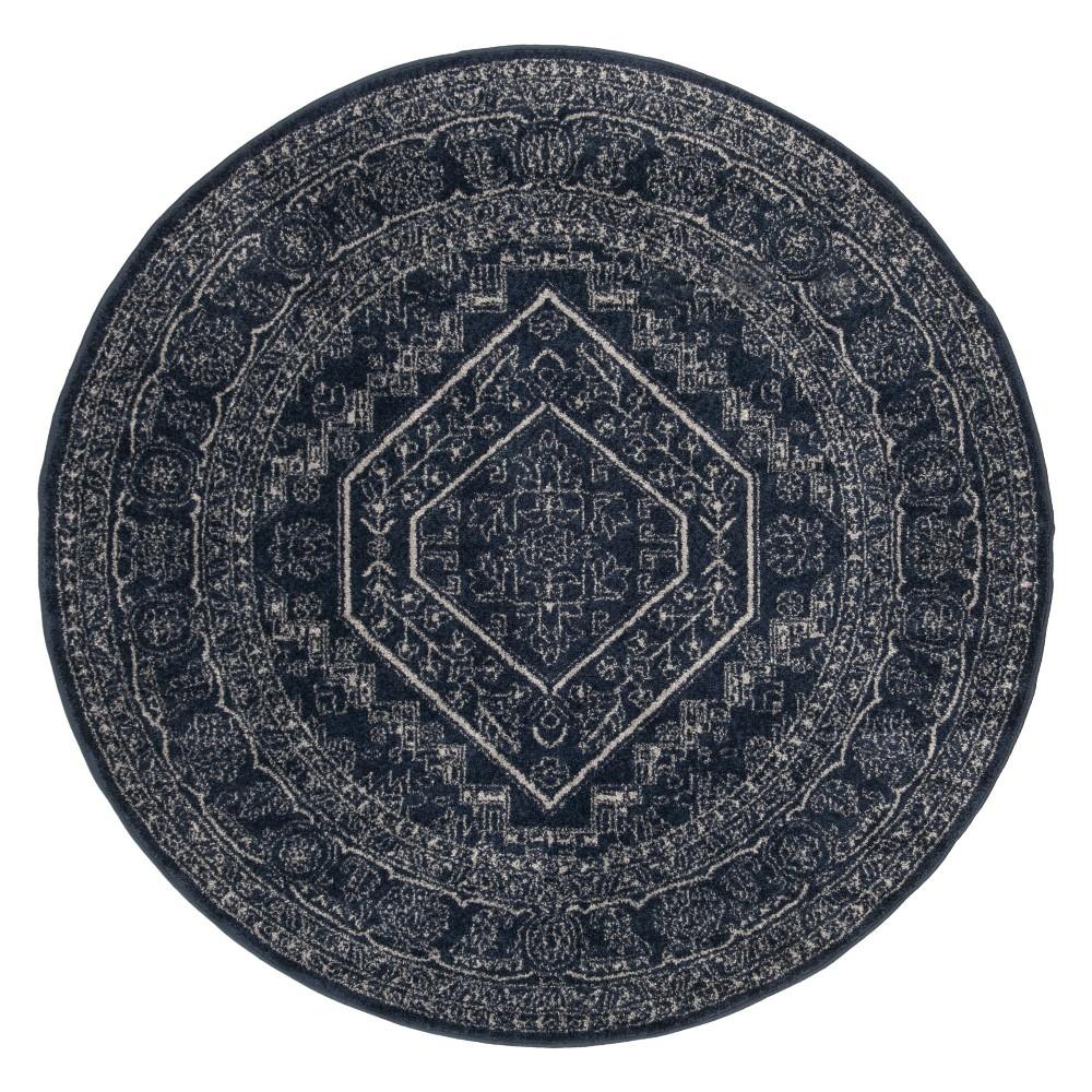 6' Medallion Round Area Rug Navy/Ivory (Blue/Ivory) - Safavieh