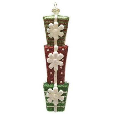 """Northlight 6.5"""" Glittered Stacked Gift Box Christmas Ornament - White/Red"""