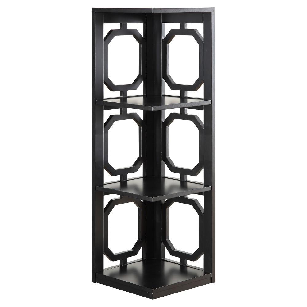 Omega 3 Tier Corner Bookcase 38.5 Black - Convenience Concepts