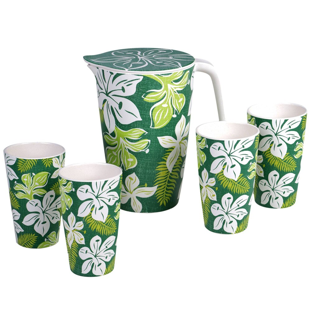 Image of 5pc Melamine Tropicali Serving Pitcher Set Green - Certified International