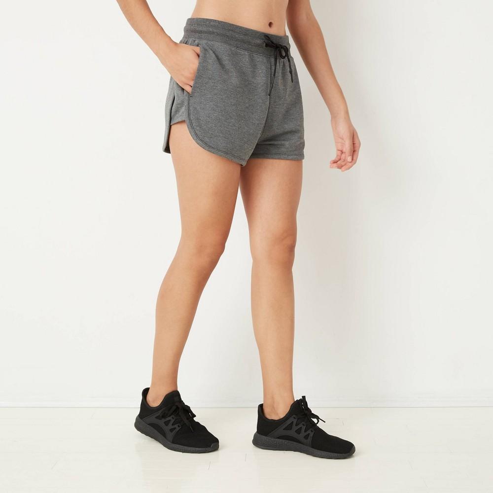 Women 39 S Mid Rise Cozy Shorts With Drawstring Joylab 8482 Charcoal Heather S