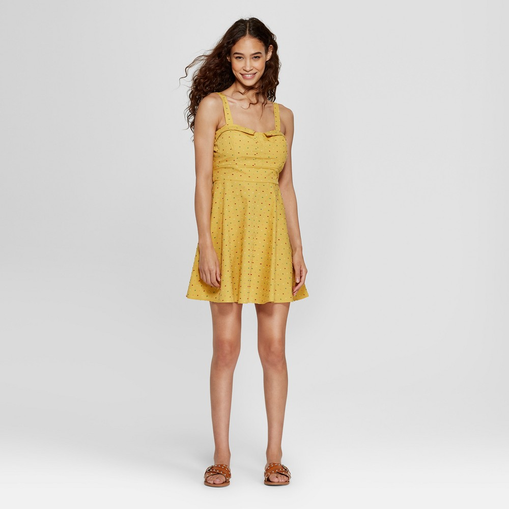 Women's Polka Dot Sleeveless Sweetheart Jacquard Dress - 3Hearts (Juniors') Mustard L, Yellow was $34.99 now $8.74 (75.0% off)