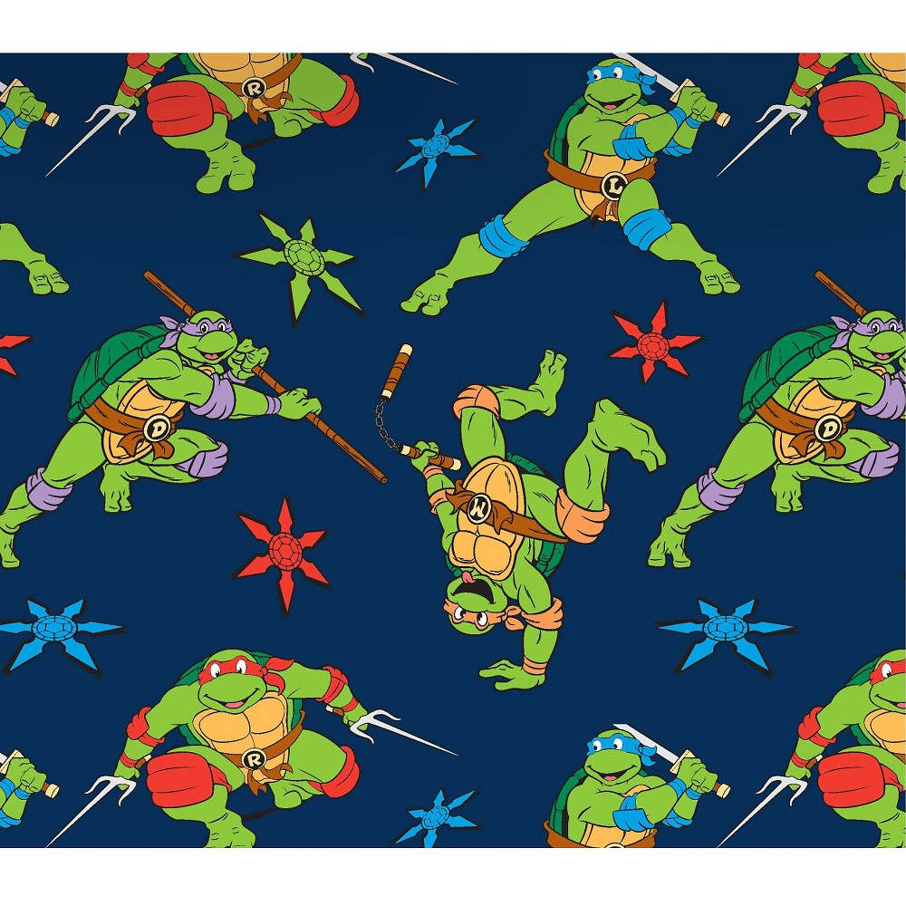 Tmnt Cowabunga Toss, Navy (Blue), Flannel, 42/43 Width, Fabric by the Yard