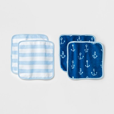 Baby Plush 4pk Washcloth Set Cloud Island™ - Blue