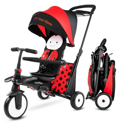 smarTrike STR5 Folding Toddler Tricycle with Customized Embroidery 7-in-1 Multi-Stage Trike - Red - 1-3 Years