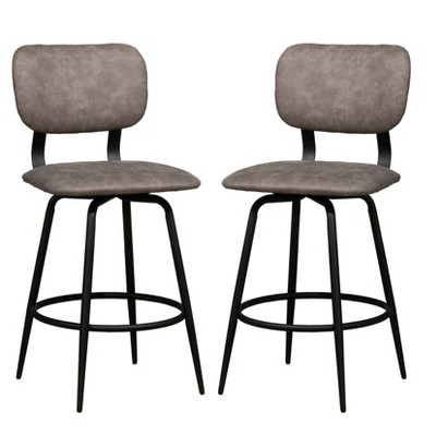 Set of 2 Retro Metal Upholstered Swivel Counter Height Stool - Hillsdale Furniture