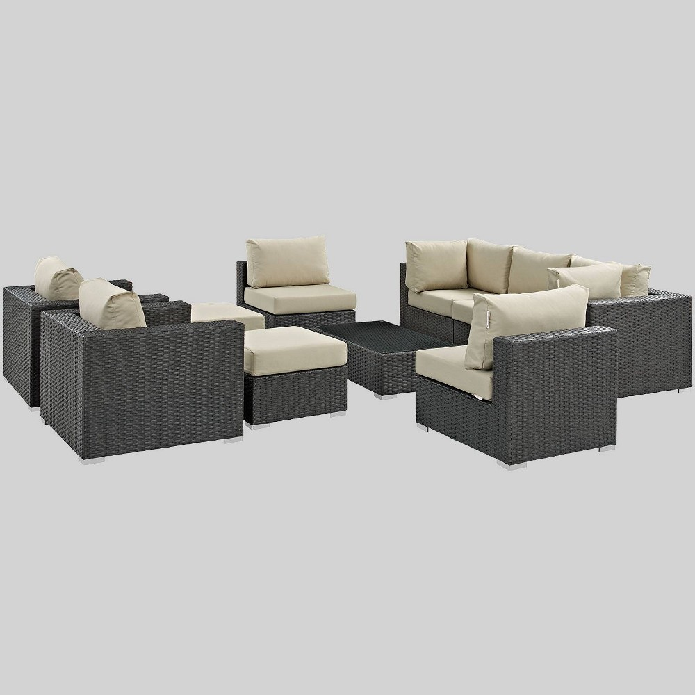 Sojourn 10pc Outdoor Patio Sectional Set with Sunbrella Fabric - Beige - Modway