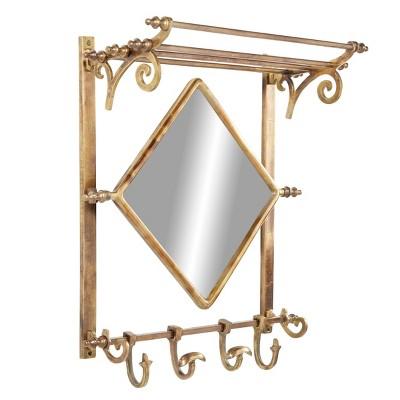 "25"" x 28"" Bathroom Wall Rack with Hooks and Diamond Mirror Brass - Olivia & May"