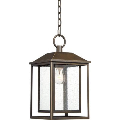 """Franklin Iron Works Mission Outdoor Ceiling Light Hanging Bronze 16 3/4"""" Textured Glass Lantern for Exterior House Porch Patio"""