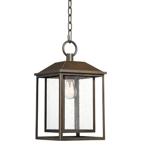 """Franklin Iron Works Mission Outdoor Ceiling Light Hanging Bronze 16 3/4"""" Textured Glass Lantern for Exterior House Porch Patio - image 1 of 4"""