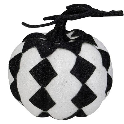 """Northlight 6"""" Black and White Glitter Harlequin Pumpkin Halloween Table Top Decoration"""