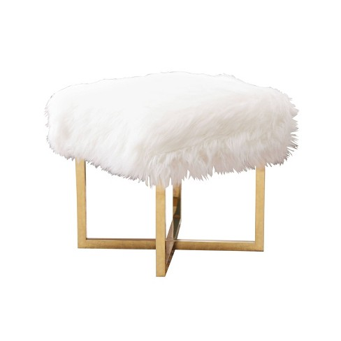 Surprising Yvette Stainless Steel Faux Fur Stool White Abbyson Cjindustries Chair Design For Home Cjindustriesco