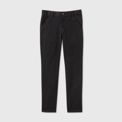 Girls' Flat Front Stretch Uniform Skinny Pants - Cat & Jack™ Black