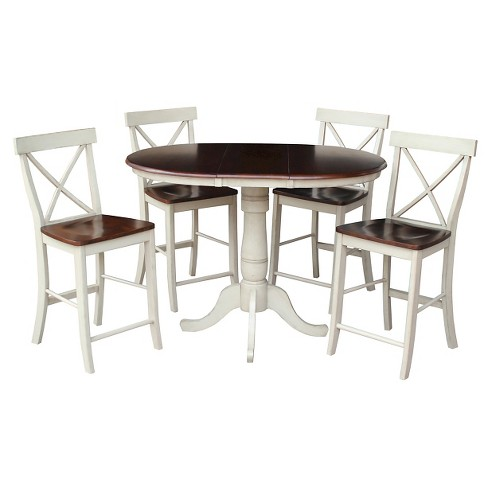 "5 Piece Dining Set 36"" Round Extension Dining Table Wood/Antiqued Almond & Espresso - International Concepts - image 1 of 1"