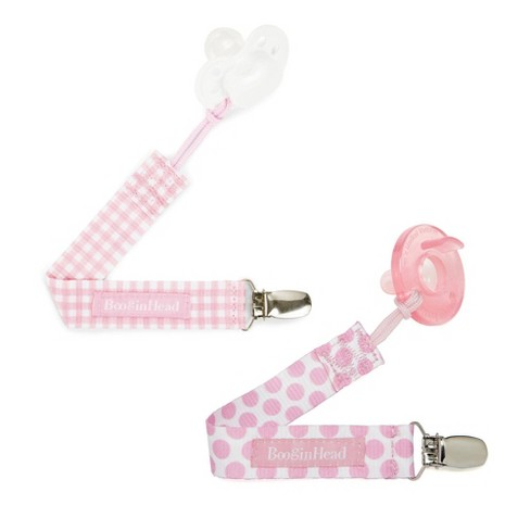 BooginHead 2-pack PaciGrip Pacifier Clip Pacifier Holder - Pink Gingham and Pink Dots - image 1 of 4