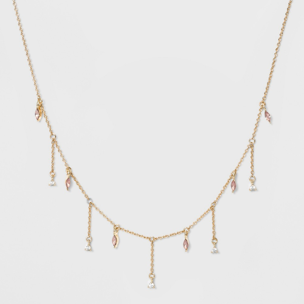 Delicate Drop Pink Stone Fringe Chain Necklace - A New Day, Multi-Colored