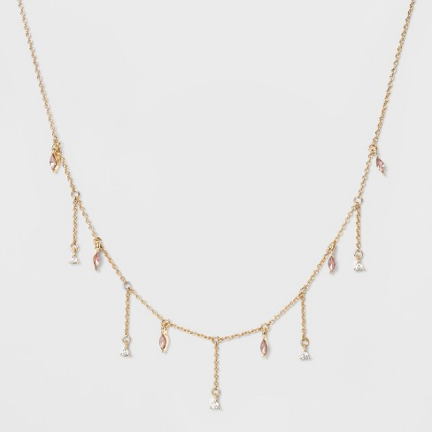 Delicate Drop Pink Stone Fringe Chain Necklace - A New Day™ - image 1 of 2