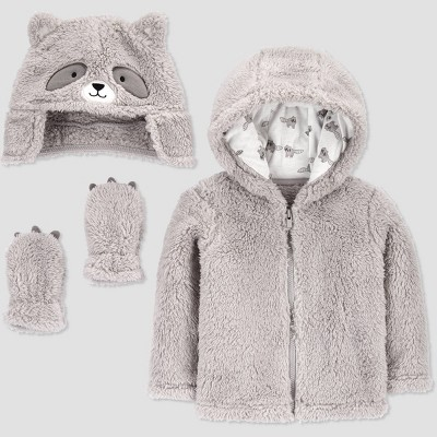 Baby Boys' Racoon Faux Fur Jacket - Just One You® made by carter's Gray 0-3M