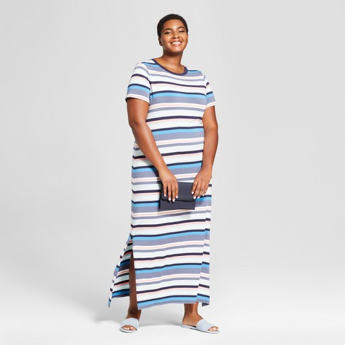 7f17b2a18a692 Women s Plus Size Striped T-Shirt Maxi Dress - Ava   Viv™ Blue   Target