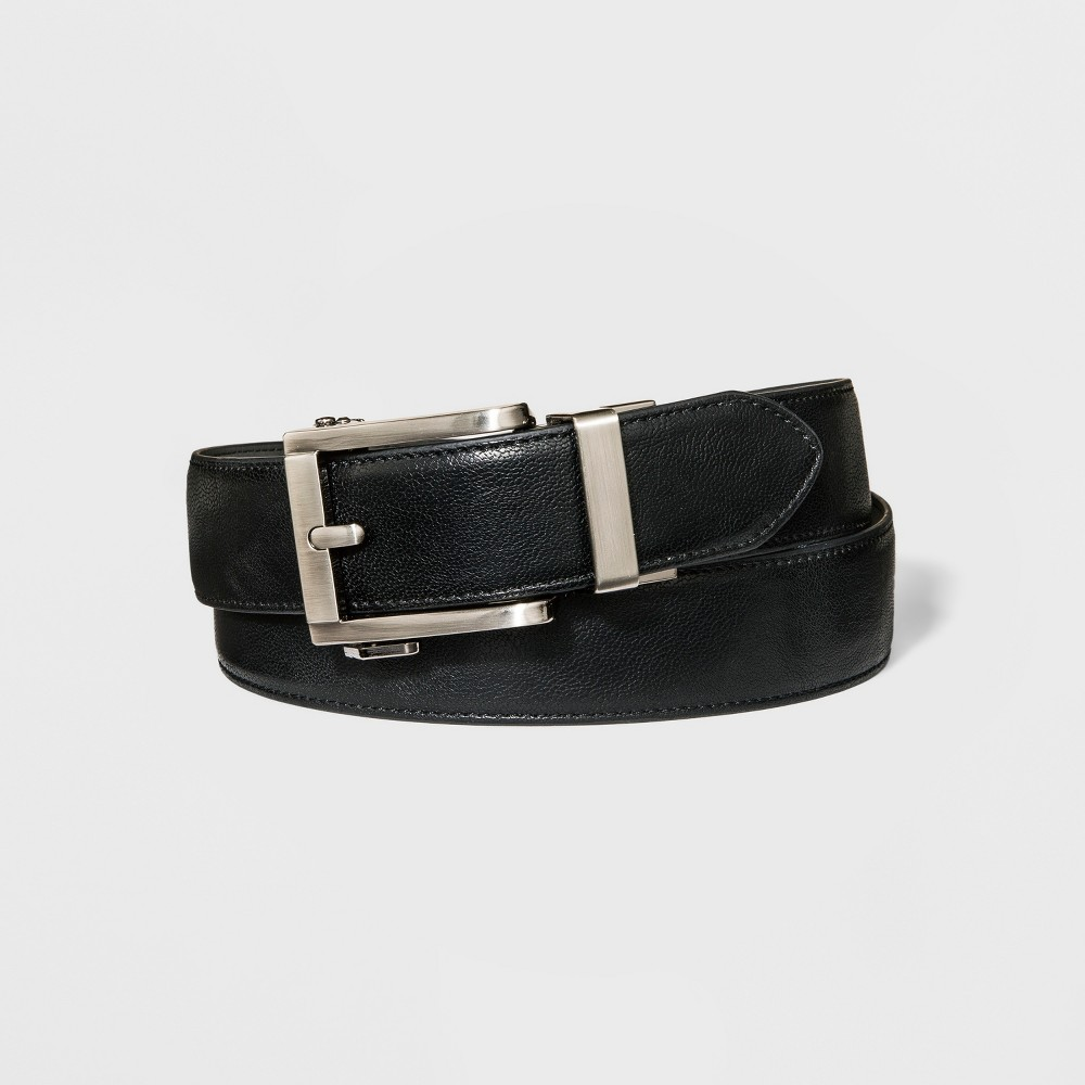 Image of Men's 35mm Feather Edge Exact Fit Belt - Goodfellow & Co Black L, Size: Large