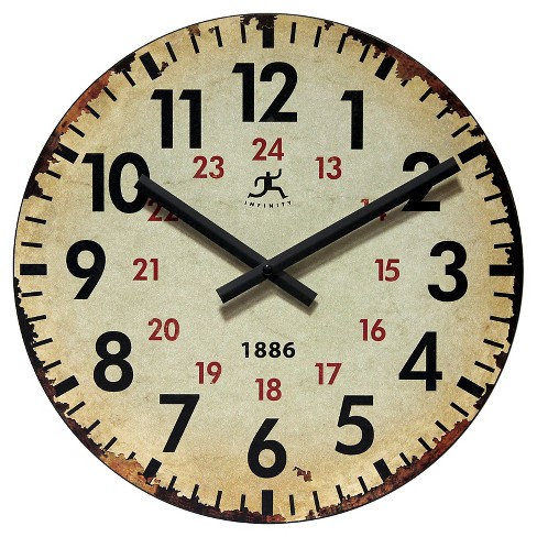 Vintage 1886 Decorative Wall Clock Beige - Infinity Instruments® - image 1 of 3
