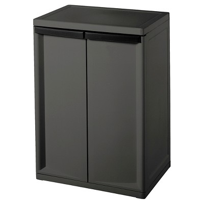 sterilite 2 shelf garage or utility storage cabinet flat gray rh target com