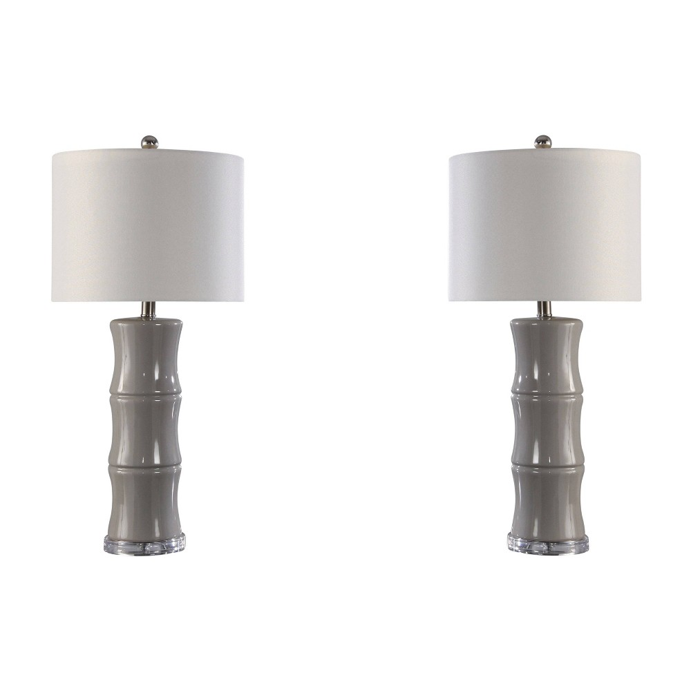 Katrina Set of 2 Ceramic Table Lamps Gray (Lamp Only) - Abbyson Living