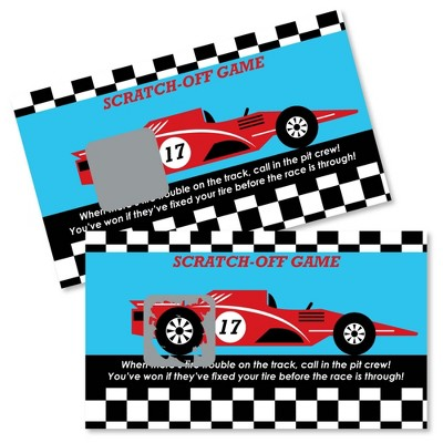 Big Dot of Happiness Let's Go Racing - Racecar - Baby Shower or Race Car Birthday Party Game Scratch Off Cards - 22 Count