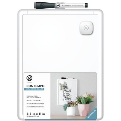 "U Brands 8.5""x11"" Contempo Magnetic Dry Erase Board White"