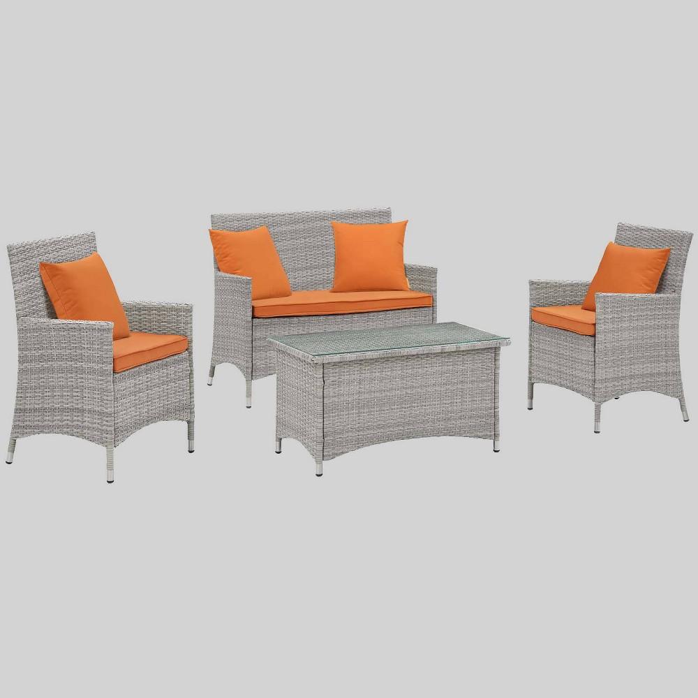 Bridge 4pc Outdoor Patio Conversation Set with Pillows - Orange - Modway
