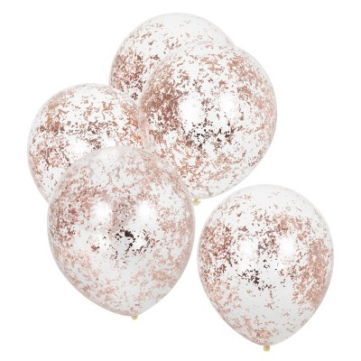 5ct Foiled Confetti Filled Balloons Rose/Gold