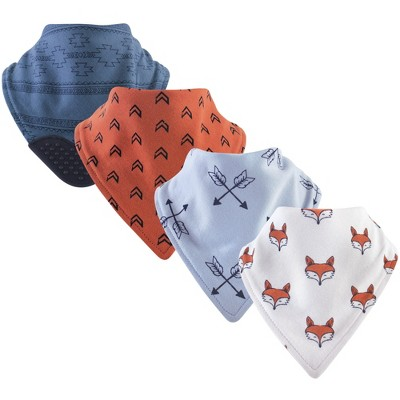 Yoga Sprout Baby Boy Cotton Bandana Bibs 4pk, Clever Fox, One Size