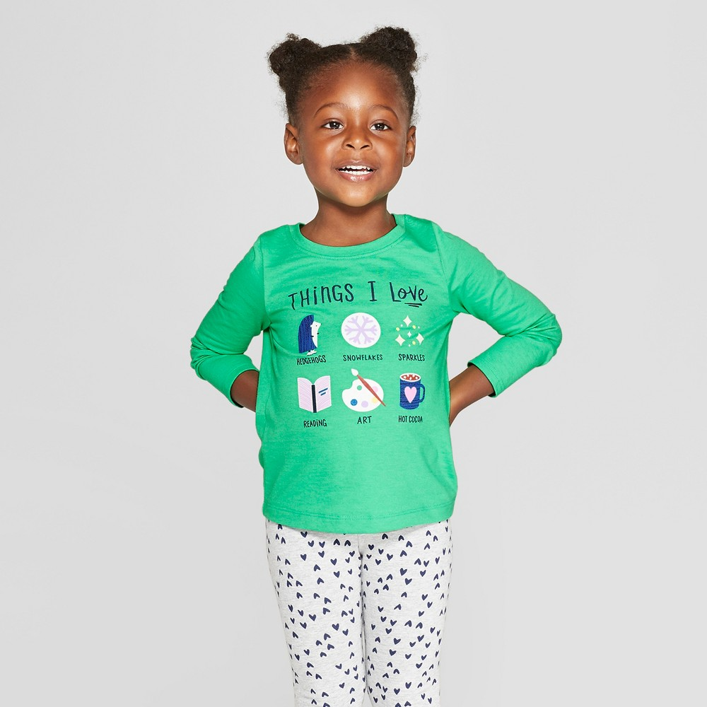Toddler Girls' Long Sleeve 'Things I love' Graphic T-Shirt - Cat & Jack Green 12M