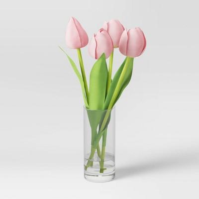 Artificial Tulip Arrangement in Glass Vase - Threshold™