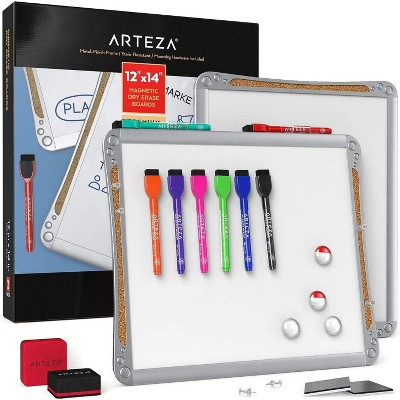 "Arteza Framed White Magnetic Dry Erase Lapboards Set with 2 Boards (12"" x 14""), 16 Markers with Cap Erasers, and Magnets"